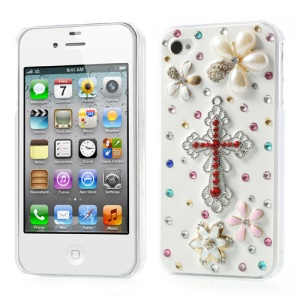 3D Red Cross & Flowers Design for iPhone 4s 4 Rhinestone Hard Cover