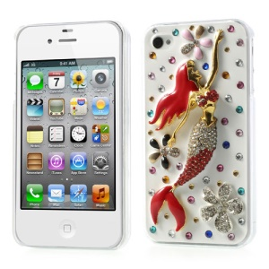 3D Pretty Mermaid Shiny Rhinestone Hard Case for iPhone 4s 4