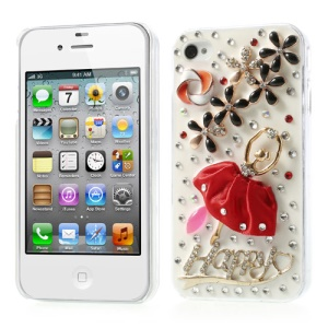 Sparking Rhinestone Flower & Ballerina Hard Cover for iPhone 4s 4