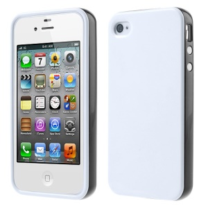 Glossy TPU & PC Frame Combo Case for iPhone 4s 4 - White