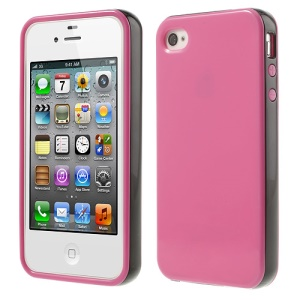 Glossy TPU & PC Frame Combo Case for iPhone 4s 4 - Rose