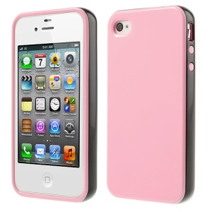 Glossy TPU & PC Frame Combo Cover for iPhone 4s 4 - Pink