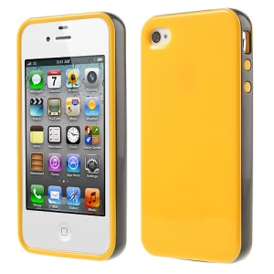 Glossy TPU & PC Frame Combo Cover for iPhone 4s 4 - Yellow