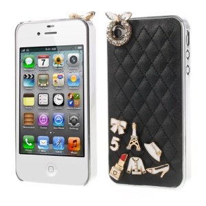 Grid Leather Diamond 3D Patterns Hard Cover for iPhone 4s 4 - Black