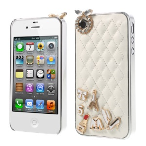 Grid Leather Diamond 3D Patterns Hard Cover for iPhone 4s 4 - White