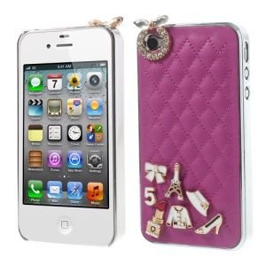 For iPhone 4s 4 Grid Leather Diamond 3D Patterns Hard Cover - Rose