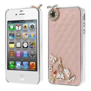 For iPhone 4s 4 Grid Leather Diamond 3D Patterns Hard Case - Pink