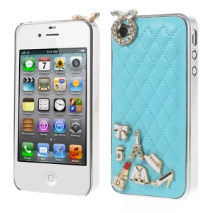 For iPhone 4s 4 Grid Leather Diamond 3D Patterns Hard Case - Blue