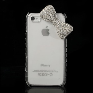 White for iPhone 4s 4 Bling Rhinestone Bowknot Crystal Case