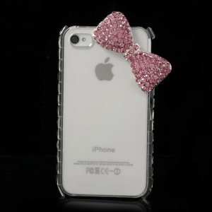 Pink for iPhone 4s 4 Bling Rhinestone Bowknot Crystal Case