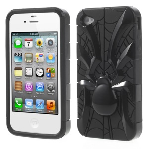 Two Pieces Spider Pattern Glossy PC + TPU Hybrid Case for iPhone 4s 4 - Black