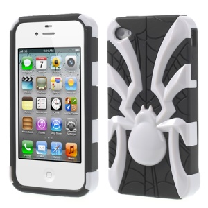Two Pieces Spider Pattern Glossy PC + TPU Hybrid Shell Case for iPhone 4s 4 - White