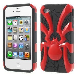 Two Pieces Spider Pattern Glossy PC + TPU Hybrid Shell for iPhone 4s 4 - Red