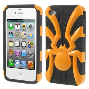 Two Pieces Spider Pattern Glossy PC + TPU Combo Case for iPhone 4s 4 - Yellow