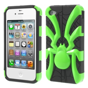 Two Pieces Spider Pattern Glossy PC + TPU Combo Shell Case for iPhone 4s 4 - Green