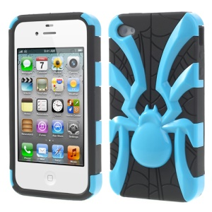 Two Pieces Spider Pattern Glossy PC + TPU Combo Shell for iPhone 4s 4 - Blue