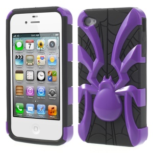 Two Pieces Spider Pattern Glossy PC + TPU Combo Shell Cover for iPhone 4s 4 - Purple