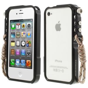 4thdesign TRIGGER Case for iPhone 4 4S Premium Metal Bumper Frame - Black