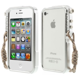 4thdesign TRIGGER Case for iPhone 4 4S Premium Metal Bumper Shell - Silver