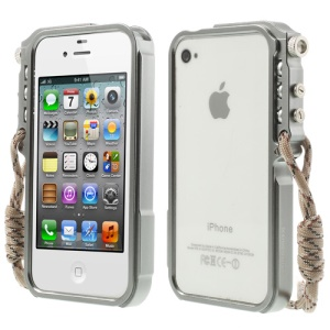 4thdesign TRIGGER Case for iPhone 4 4S Premium Metal Bumper Frame Shell - Grey