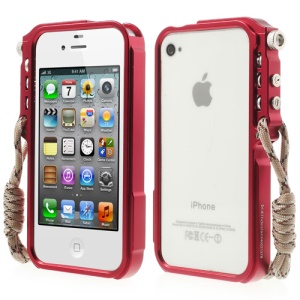 4thdesign TRIGGER Case Premium Metal Bumper Shell Cover for iPhone 4 4S - Red