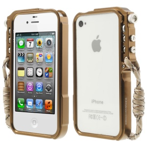 4thdesign TRIGGER Case Premium Metal Bumper Cover for iPhone 4 4S - Brown