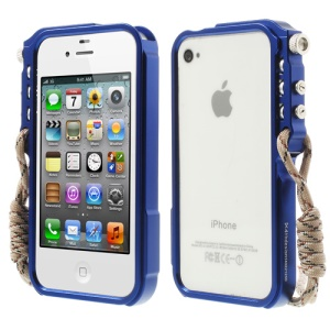 For iPhone 4 4S 4thdesign TRIGGER Case Premium Metal Bumper Frame - Deep Blue