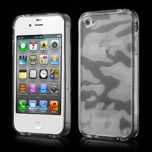 Transparent Camouflage Plastic & TPU Hybrid Case for iPhone 4s 4