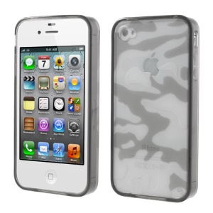 Grey Camouflage Plastic & TPU Hybrid Case for iPhone 4s 4