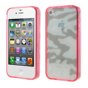 Rose Camouflage Plastic & TPU Hybrid Cover for iPhone 4s 4