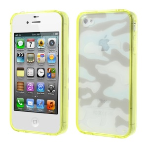 Yellow Camouflage Plastic & TPU Hybrid Cover for iPhone 4s 4