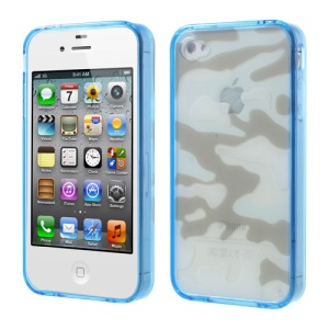 Blue for iPhone 4s 4 Camouflage Plastic & TPU Hybrid Shell
