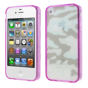 Purple for iPhone 4s 4 Camouflage Plastic & TPU Hybrid Shell