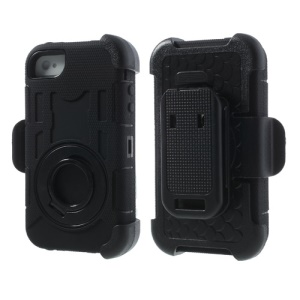 Black 4 in 1 PC + Silicone High Impact Defender Shell w/ Swivel Belt Clip Stand for iPhone 4S 4