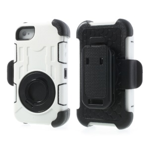 White 4 in 1 PC + Silicone High Impact Defender Case w/ Swivel Belt Clip Stand for iPhone 4S 4
