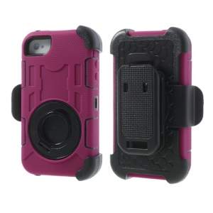 Rose for iPhone 4S 4 PC + Silicone 4 in 1 High Impact Defender Cover w/ Swivel Belt Clip Stand