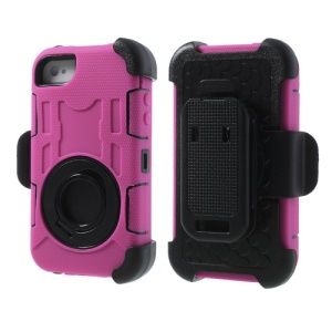Pink for iPhone 4S 4 PC + Silicone 4 in 1 High Impact Hybrid Shield Case w/ Swivel Belt Clip Stand