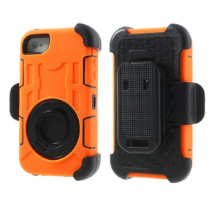 Orange for iPhone 4S 4 PC + Silicone 4 in 1 High Impact Shield Shell w/ Swivel Belt Clip Stand