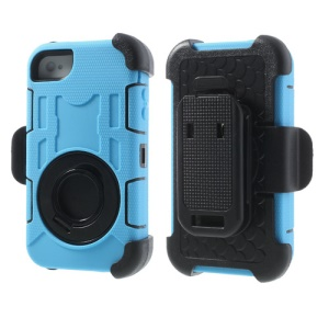 Pale Blue PC + Silicone 4 in 1 High Impact Combo Case w/ Swivel Belt Clip Stand for iPhone 4S 4