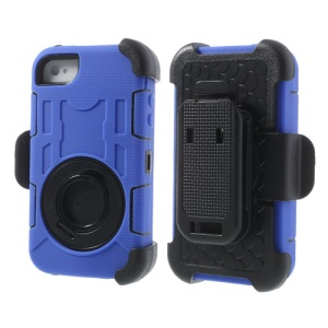 Deep Blue PC + Silicone 4 in 1 High Impact Combo Shell w/ Swivel Belt Clip Stand for iPhone 4S 4