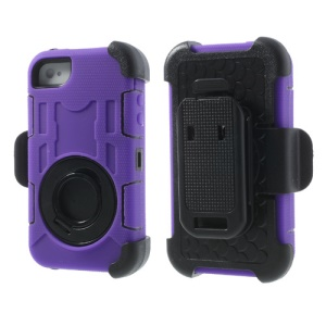 Purple PC + Silicone 4 in 1 High Impact Defender Shell Case w/ Swivel Belt Clip Holder for iPhone 4S 4