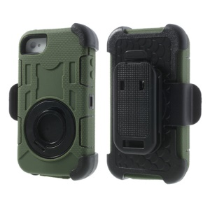 Army Green PC + Silicone 4 in 1 High Impact Hybrid Case w/ Swivel Belt Clip Holder for iPhone 4S 4
