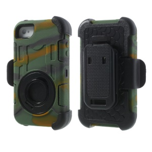 Camouflage PC + Silicone 4 in 1 High Impact Hybrid Cover w/ Swivel Belt Clip Holder for iPhone 4S 4