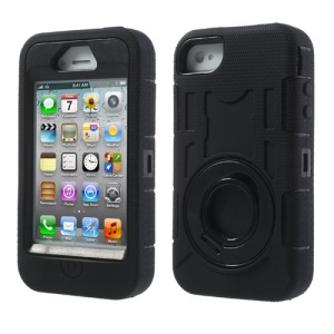 Black Plastic & Silicone 3 in 1 High Impact Defender Case w/ Circular Stand for iPhone 4S 4