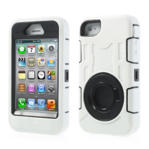 White Plastic & Silicone 3 in 1 High Impact Defender Shell w/ Circular Stand for iPhone 4S 4