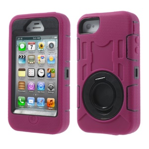 Rose 3 in 1 Plastic & Silicone High Impact Defender Shell Case w/ Circular Stand for iPhone 4S 4