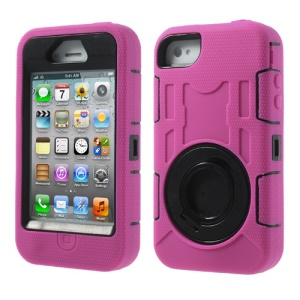 Pink 3 in 1 Plastic & Silicone High Impact Defender Hybrid Shell w/ Circular Stand for iPhone 4S 4