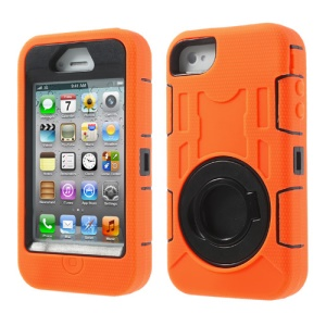 Orange 3 in 1 Plastic & Silicone High Impact Hybrid Shield Case w/ Circular Stand for iPhone 4S 4