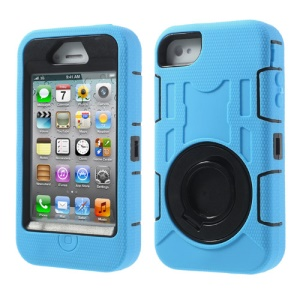 Pale Blue for iPhone 4S 4 3 in 1 Plastic & Silicone High Impact Defender Case w/ Circular Holder