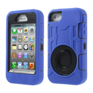Deep Blue for iPhone 4S 4 3 in 1 Plastic & Silicone High Impact Shield Shell w/ Circular Holder